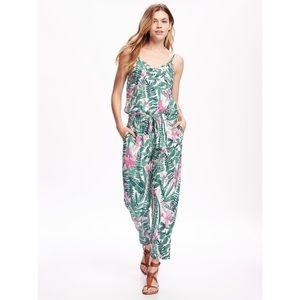 Old Navy Palm Print Jumpsuit Tie Waist Size L